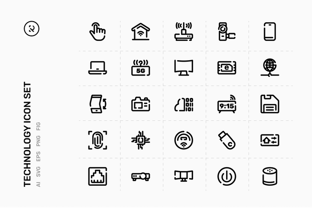Technology Line Icon Set - product preview 1