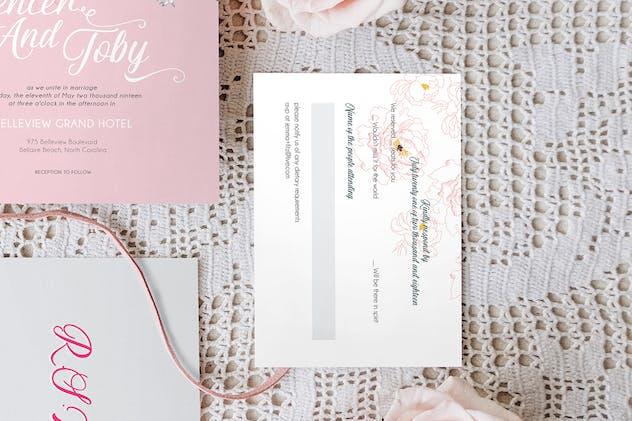 Pink Pop Floral Wedding Invitation Suite