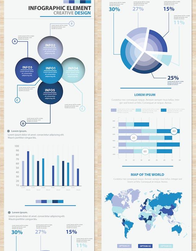 Big Blue Infographic Elements Design Scheme V.5 - product preview 1