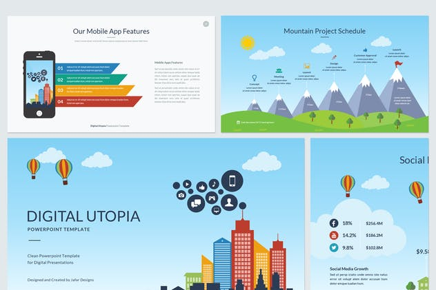 Aqua Pitch Deck PowerPoint Template by JafarDesigns on