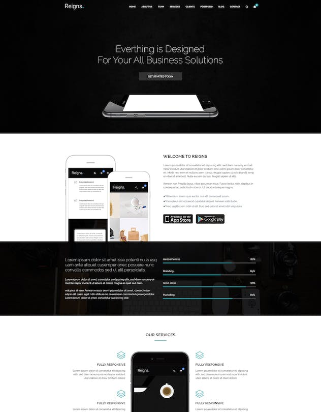Reigns - Professional One Page HTML5 Templates
