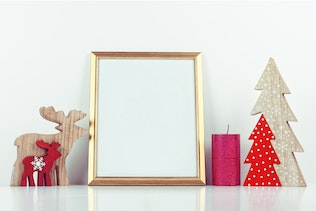 Thumbnail for Christmas Gold Picture Frame Mockup