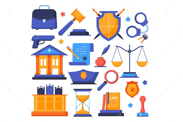 Law and order - flat design style elements - product preview 0