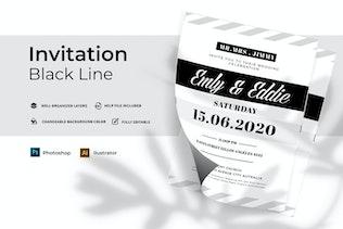 Miniature pour Ligne Noire Mariage   Invitation