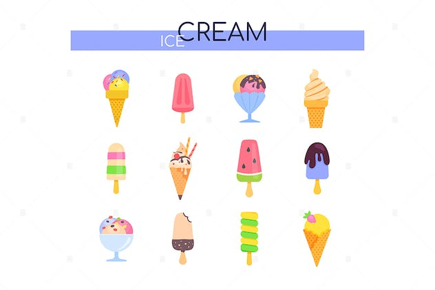 Types of ice cream - set of flat design elements - product preview 0