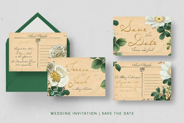 Vintage Floral Postcard Invitation Package - product preview 1