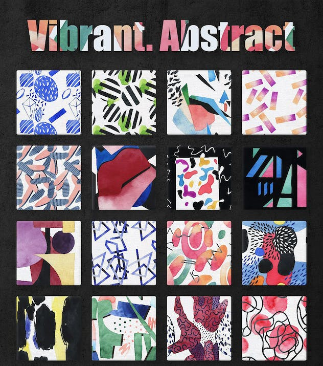 Vibrant Watercolor Patterns - product preview 5