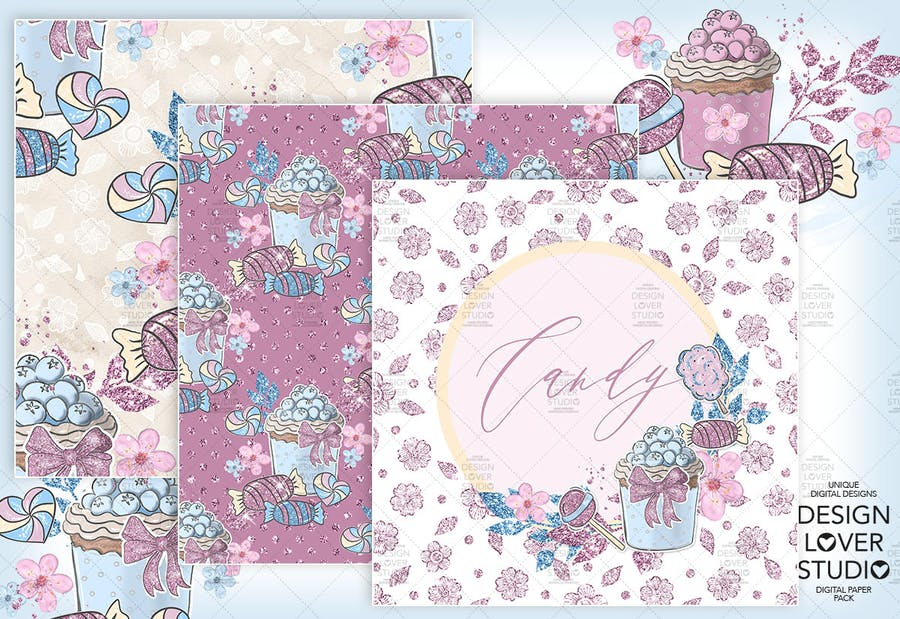 Candy Girl digital paper pack - product preview 3