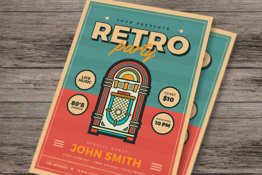 Retro Jukebox Party Flyer - product preview 2