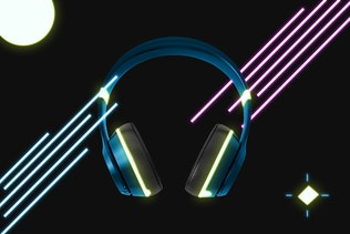 Thumbnail for Neon Headphones Mockup