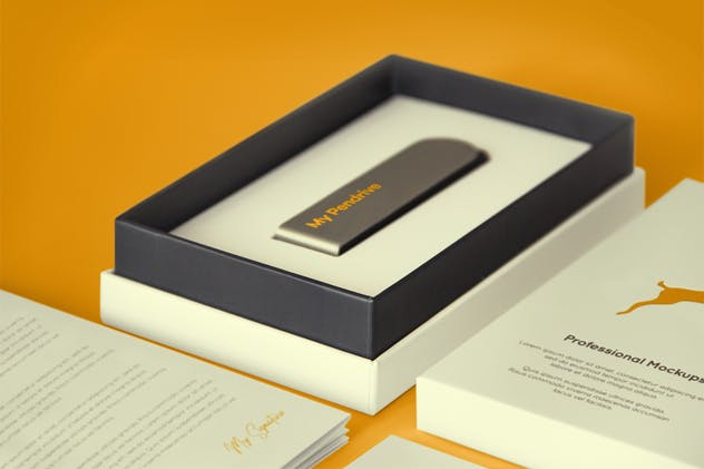 Open Product Box with Pendrive PSD Mockup - product preview 4