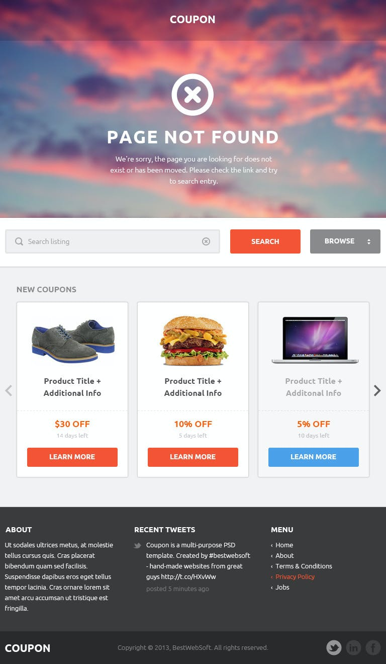 Coupon - Coupons and Promo Codes PSD Template by bestwebsoft on ...