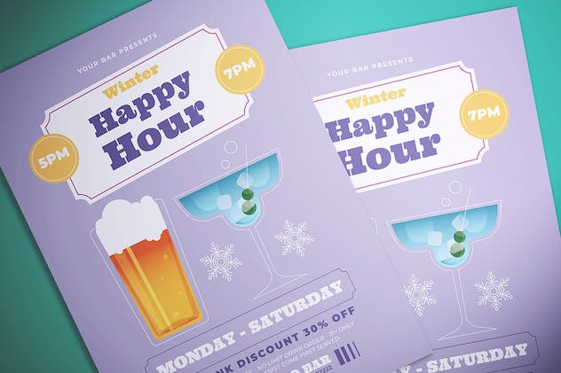 Winter Happy Hour Flyer - product preview 1