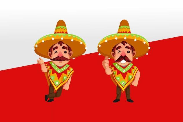 Mexican Sombrero Mascot Character Illustration Set