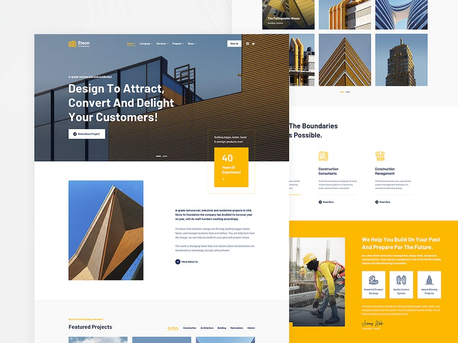 Eteon - Construction and Building HTML5 Template - product preview 0