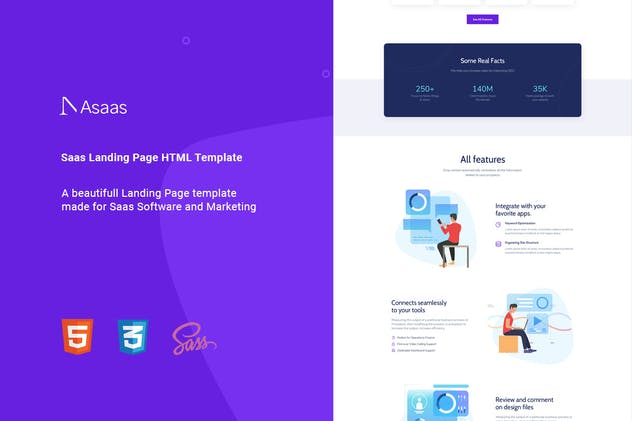 Asaas - Saas Landing Page HTML Template - product preview 1