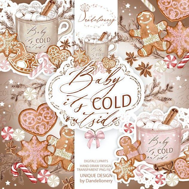 Gingerbread Watercolor Clipart