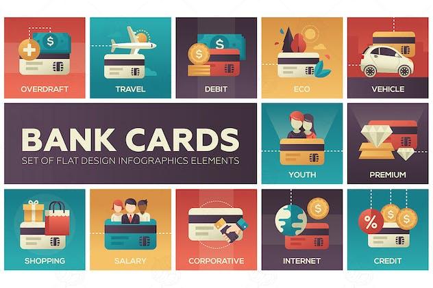 Bank cards - set of flat design elements