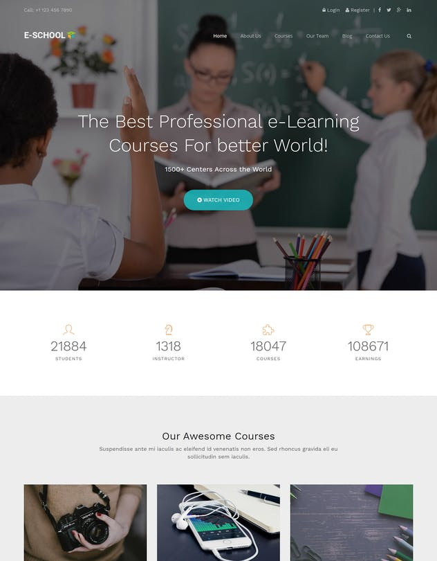 E-School - Learning and Courses HTML5 Template - product preview 4