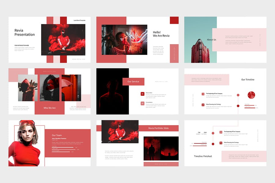 Revia : Red Gradient Color Tone Keynote - product preview 1