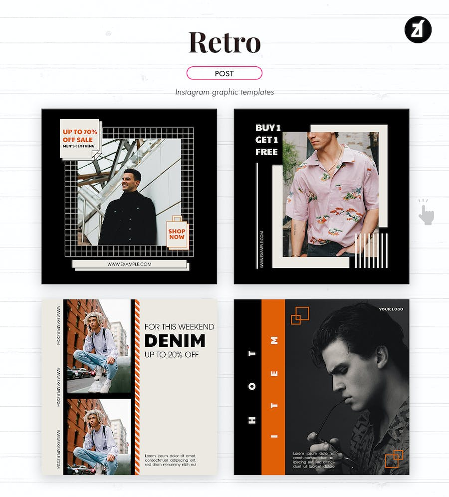 Retro social media graphic templates - product preview 3