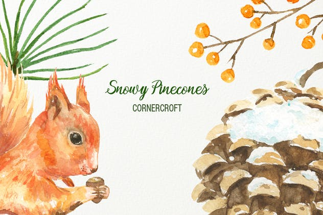 Watercolor Snowy Pinecones - product preview 2