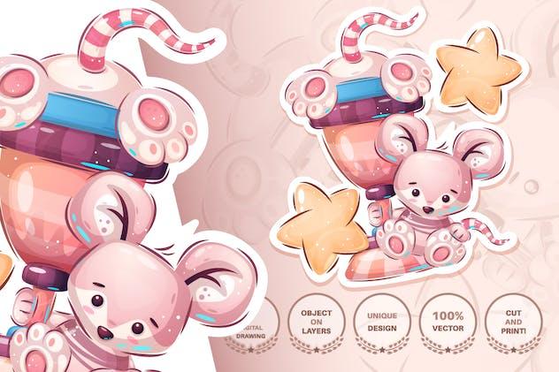 Cute winner mouse - seamless pattern