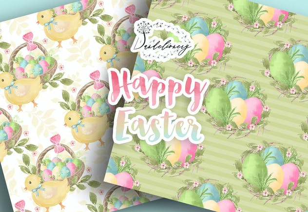 Happy Easter digital paper pack - product preview 1