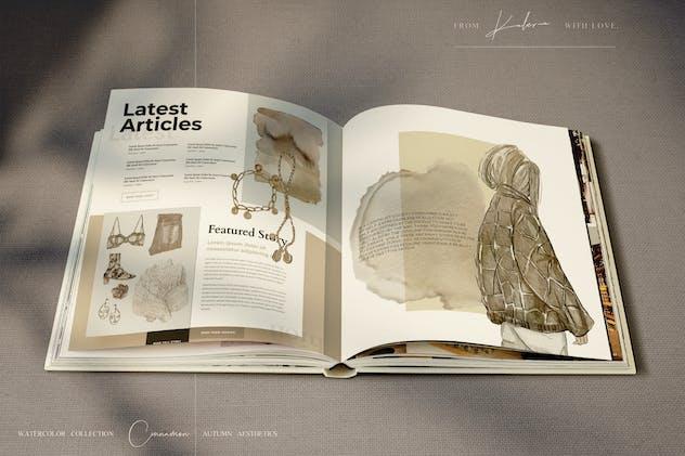 Autumn ladies - watercolor illustrations set - product preview 1