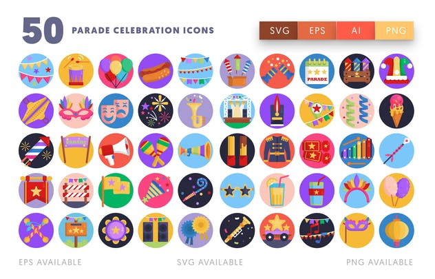 Parade Celebration Icons