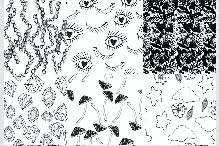 12 seamless ink hand-drawn patterns set  - product preview 2
