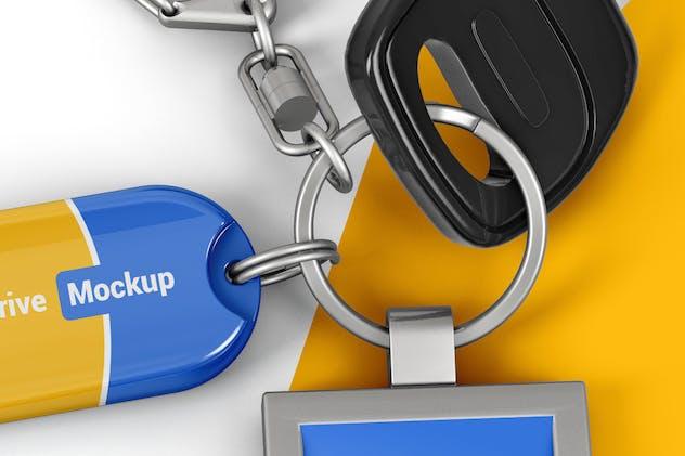 Branded Keychain With Flash Drive Mockup