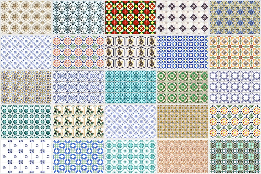 200 Seamless Portugal Azulejo Tile Backgrounds - product preview 3