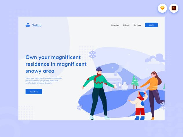 Snow Family - Website Header Illustration - product preview 1