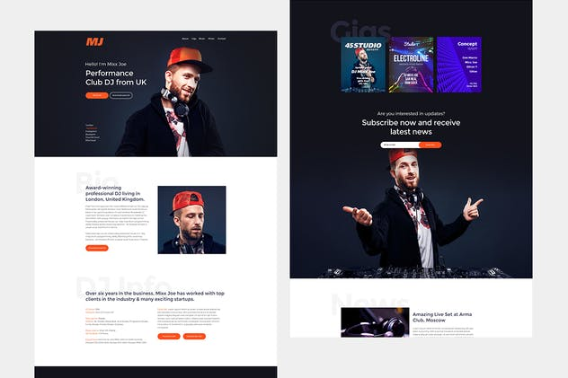 HelloDJ - One Page Site Template for DJ & Producer - product preview 1