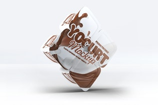 Vier Kunststoff-Behälter für Joghurt-Mock-Up