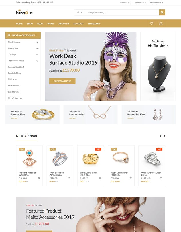Hiraola - Jewellery eCommerce Bootstrap 4 Template