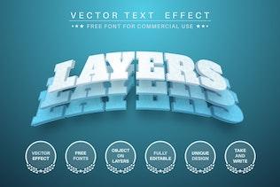 3D слои - редактируемый текстовый эффект, стиль шрифта