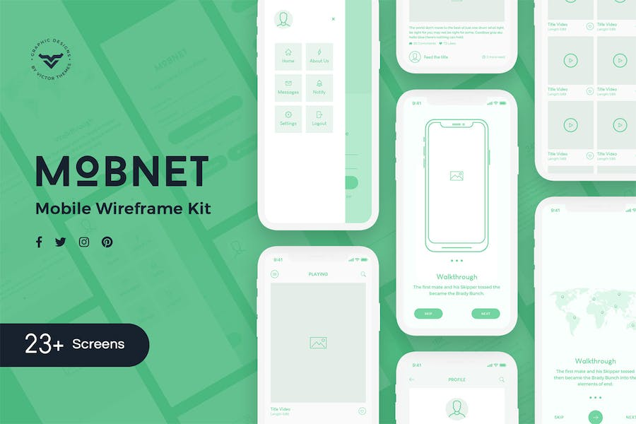 Mobnet Mobile Wireframe Kit - product preview 1