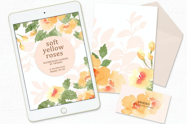 Soft Yellow Roses, watercolor flowers - product preview 2