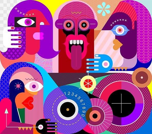 Four People Portrait vector illustration
