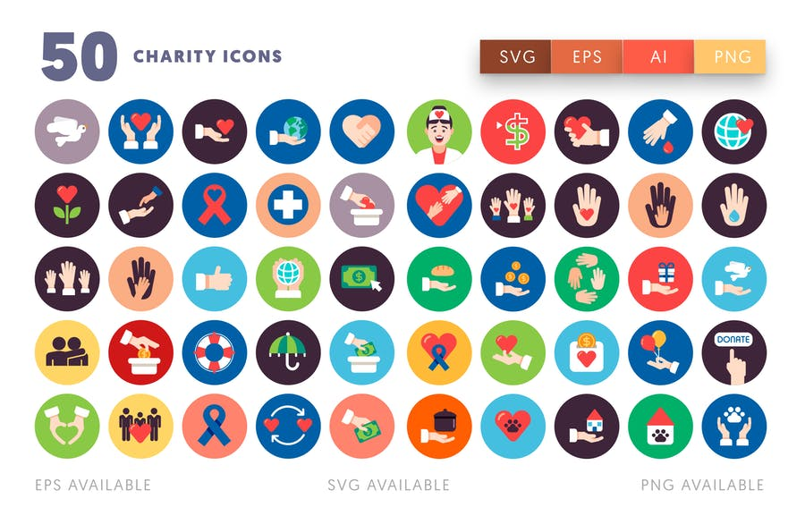 50 Charity Icons - product preview 1