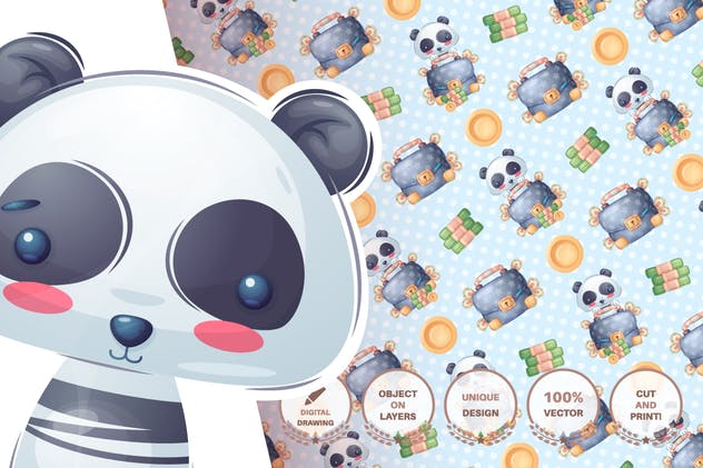 Set cute sticker - seamless pattern - product preview 6