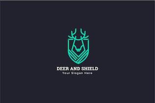 Thumbnail for Deer Shield Heraldry Logo Template