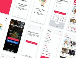 Миниатюра для Набор пользовательского интерфейса для заказа и доставки еды