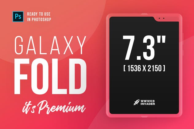 Samsung Galaxy FOLD Premium PSD Mockup