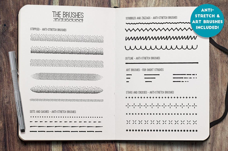 Illustrator细眼线笔刷和图案Fine Liner Brushes & Patterns插图5