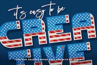 Miniatura para Bandera de Estados Unidos - Fuente SVG Color 3D