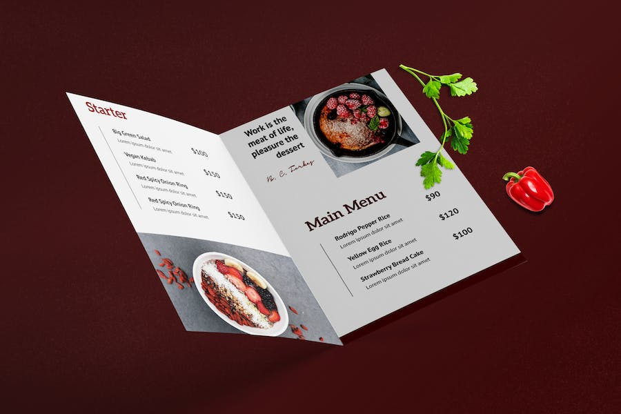 Bifold Restaurant Menu Template - product preview 2