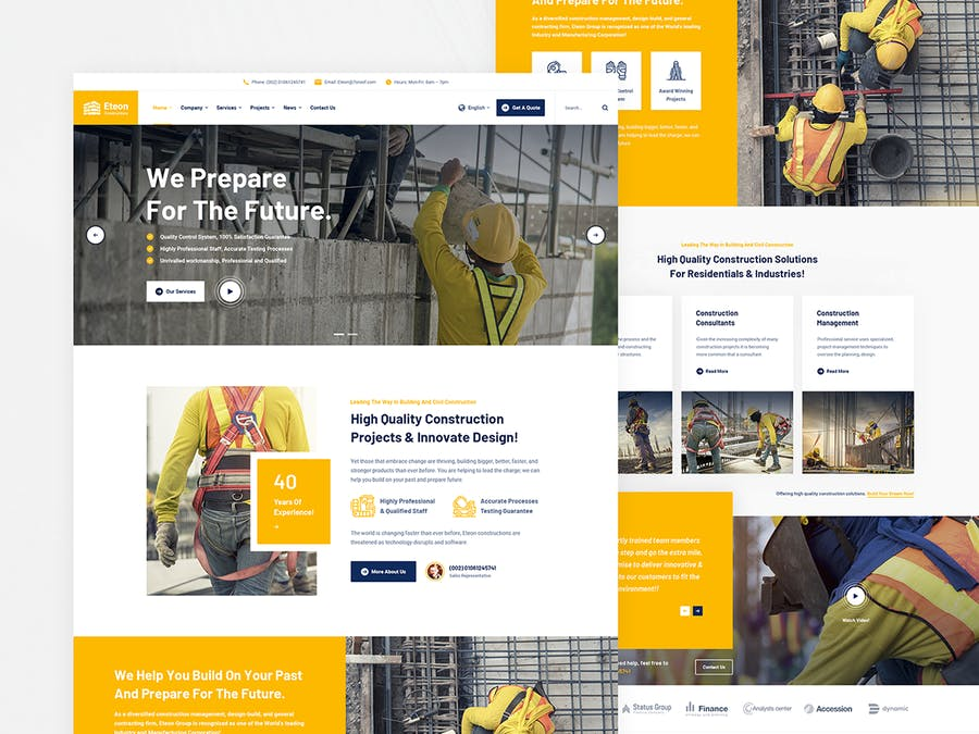 Eteon - Construction and Building HTML5 Template - product preview 1